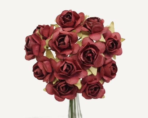 "3/4"" Burgundy Medium Rose Craft Paper Flowers - Pack of 144"
