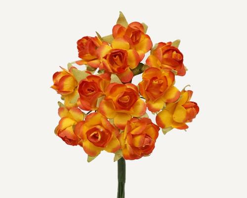 """3/4"""" Orange Medium Rose Craft Paper Flowers - Pack of 144"""