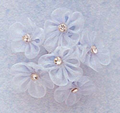 """1"""" Light Blue Organza Flowers with Rhinestone - Pack of 72"""