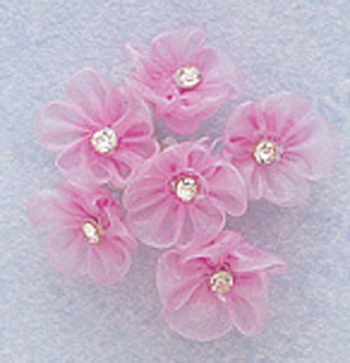 """1"""" Lavender Organza Flowers with Rhinestone - Pack of 72"""