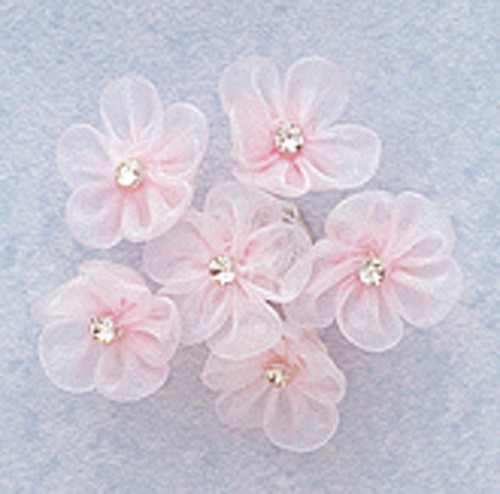 """1"""" Pink Organza Flowers with Rhinestone - Pack of 72"""
