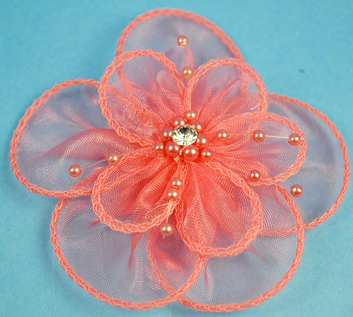 "3"" Coral Organza Flowers with Pearl and Rhinestone - Pack of 12"