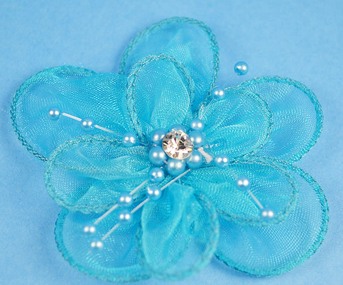 "3"" Turquoise Organza Flowers with Pearl and Rhinestone - Pack of 12"