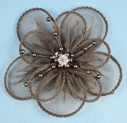 """3.5"""" Black Organza Flowers with Pearl and Rhinestone - Pack of 12"""