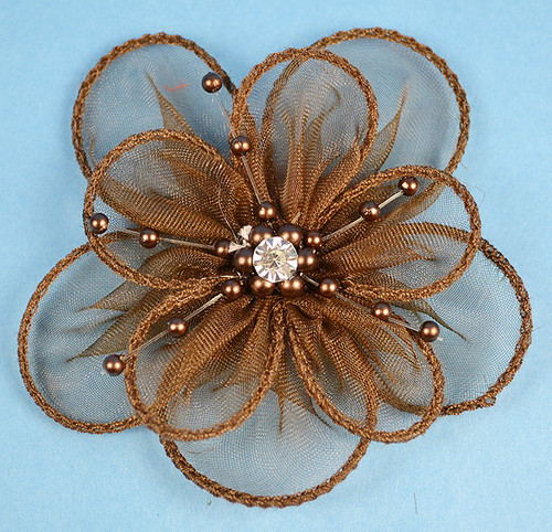 """3.5"""" Brown Organza Flowers with Pearl and Rhinestone - Pack of 12"""