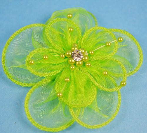 "3.5"" Apple Green Organza Flowers with Pearl and Rhinestone - Pack of 12"