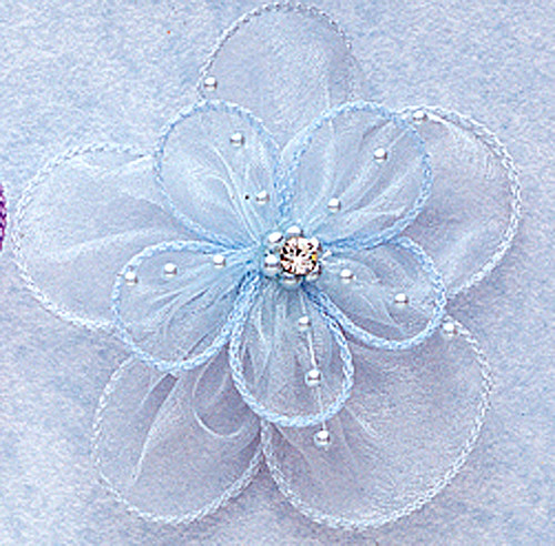 """3.5"""" Light Blue Organza Flowers with Pearl and Rhinestone - Pack of 12"""