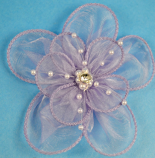 """3.5"""" Lavender Organza Flowers with Pearl and Rhinestone - Pack of 12"""