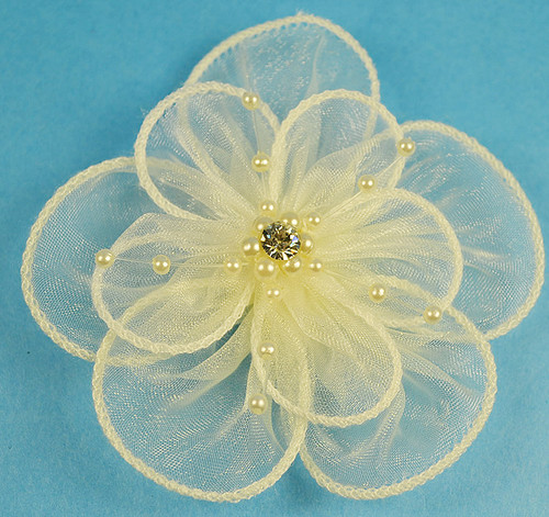 """3.5"""" Ivory Organza Flowers with Pearl and Rhinestone - Pack of 12"""