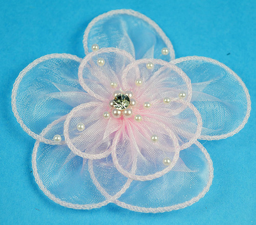 """3.5"""" Pink Organza Flowers with Pearl and Rhinestone - Pack of 12"""