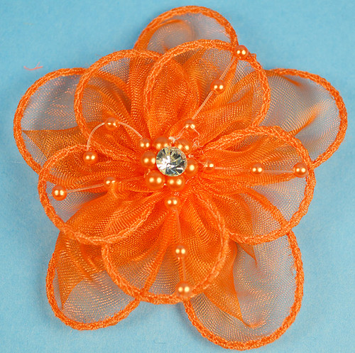 """3.5"""" Orange Organza Flowers with Pearl and Rhinestone - Pack of 12"""