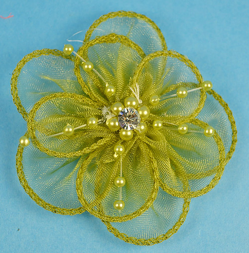 """3.5"""" Sage Green Organza Flowers with Pearl and Rhinestone - Pack of 12"""