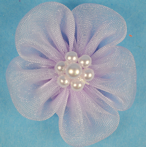 """1"""" Lavender Organza Flowers with Pearl - Pack of 144 Pieces"""