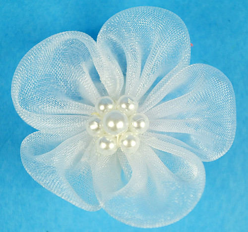 """1 3/4"""" Light Blue Organza Flowers with Pearl - Pack of 144 Pieces"""