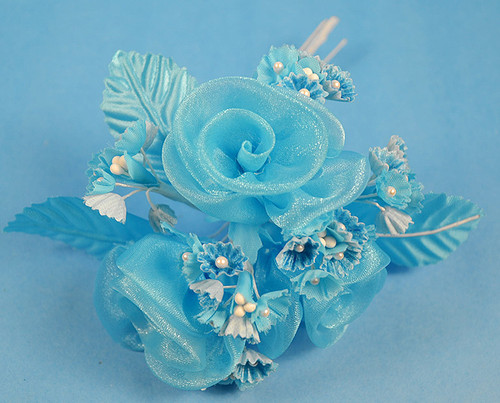 """1.5"""" Turquoise Circle Organza Flowers - Pack of 12"""