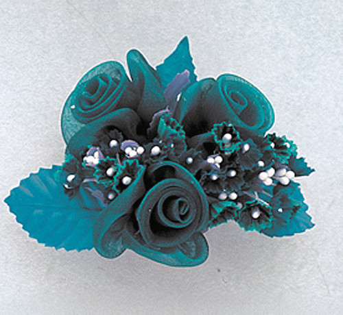 """1.5"""" Turquoise Organza Pearl Flowers with Leaf - Pack of 12"""