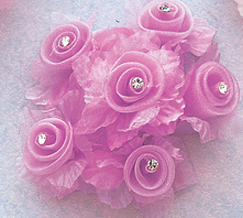 "1 3/4"" Lavender Organza Flowers with Rhinestone - Pack of 72"