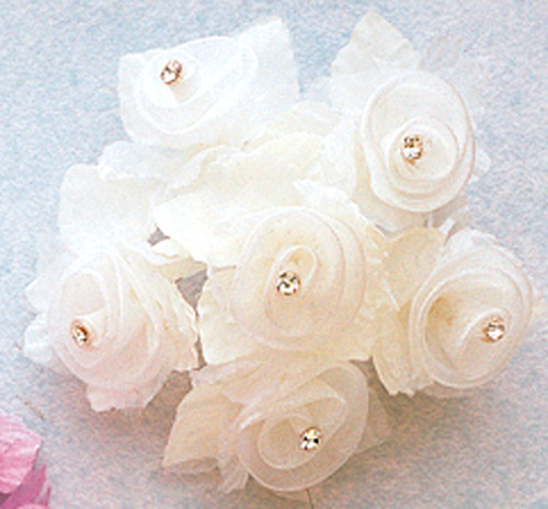 "1 3/4"" Ivory Organza Flowers with Rhinestone - Pack of 72"