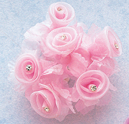 """1 3/4"""" Pink Organza Flowers with Rhinestone - Pack of 72"""