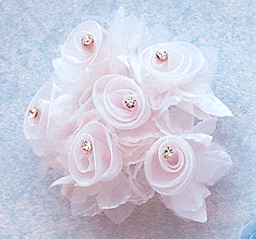"""1 3/4"""" White Organza Flowers with Rhinestone - Pack of 72"""