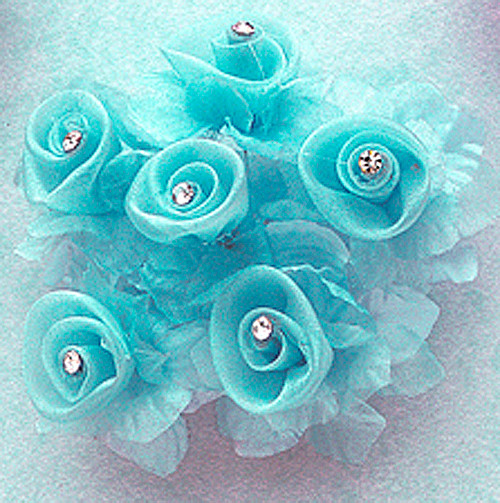 """1 3/4"""" Turquoise Organza Flowers with Rhinestone - Pack of 72"""