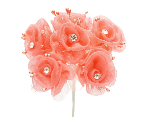 "1.5"" Coral Organza Flowers with Rhinestone - Pack of 72"