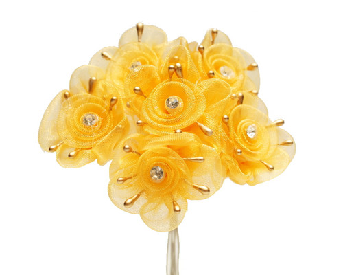 """1.5"""" Gold Organza Flowers with Rhinestone - Pack of 72"""