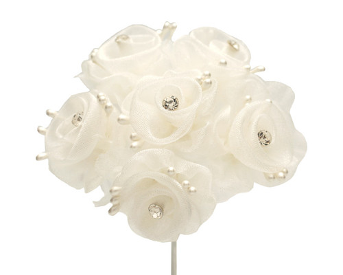 "1.5"" Ivory Organza Flowers with Rhinestone - Pack of 72"