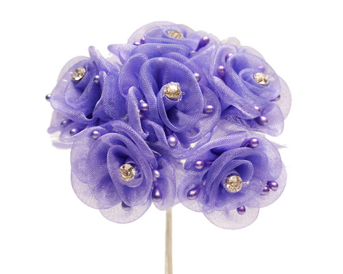 "1.5"" Purple Organza Flowers with Rhinestone - Pack of 72"