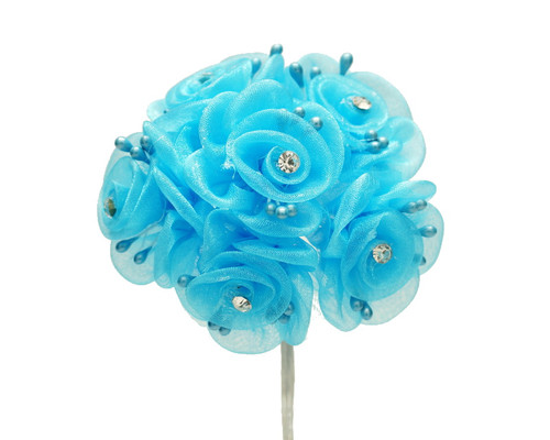 """1.5"""" Turquoise Organza Flowers with Rhinestone - Pack of 72"""