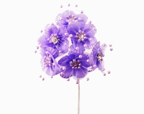 "1.5"" Lavender Organza Flowers with Rhinestones - Pack of 72"