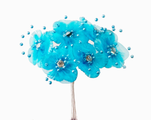 """1.5"""" Turquoise Organza Flowers with Rhinestones - Pack of 72"""