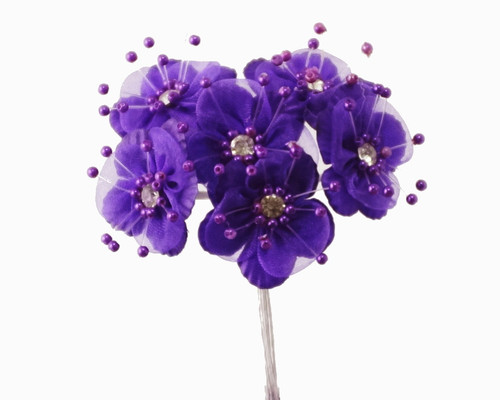 "1.5"" Purple Organza Flowers with Rhinestones - Pack of 72"