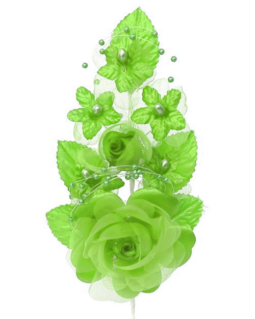 "6"" Apple Green Silk Corsage Flowers with Pearl Spray - Pack of 12"