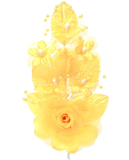 """6"""" Banana Silk Corsage Flowers with Pearl Spray - Pack of 12"""