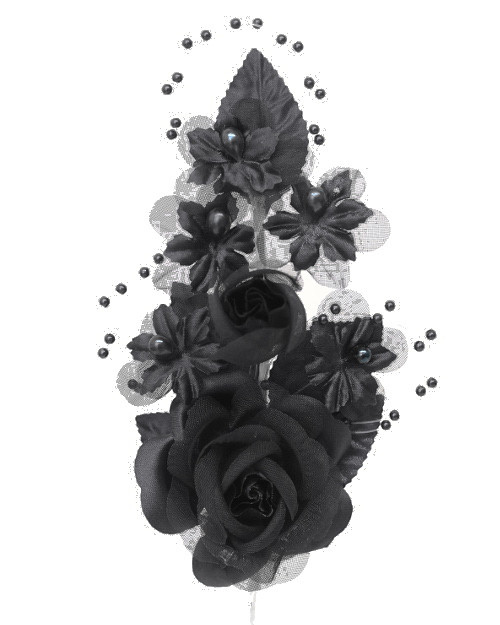 "6"" Black Silk Corsage Flowers with Pearl Spray - Pack of 12"