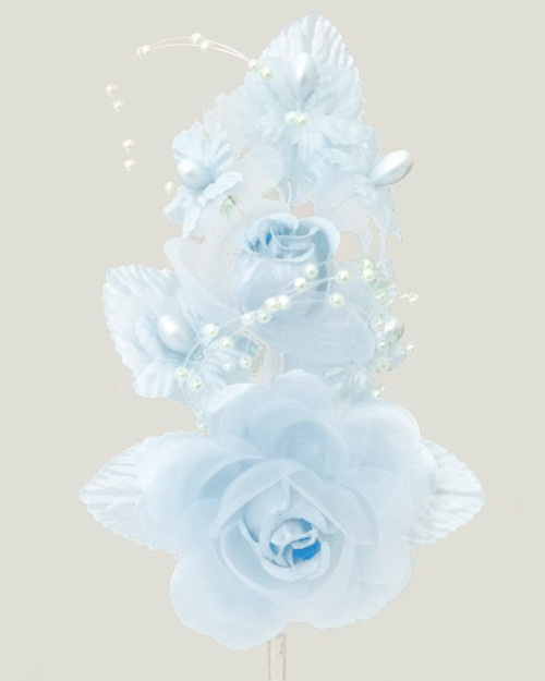 "6"" Light Blue Silk Corsage Flowers with Pearl Spray - Pack of 12"