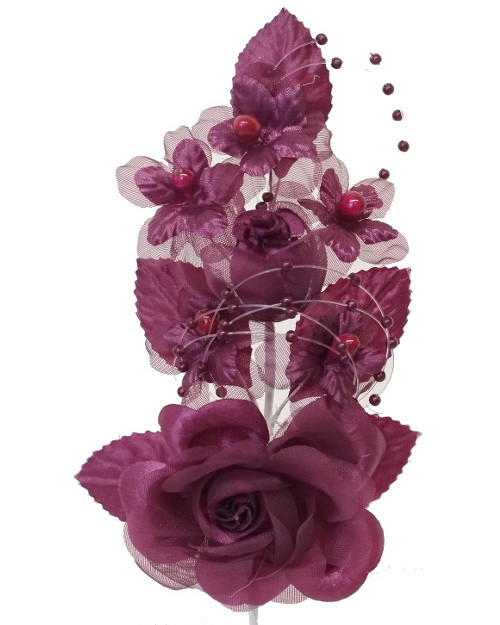 "6"" Burgundy Silk Corsage Flowers with Pearl Spray - Pack of 12"