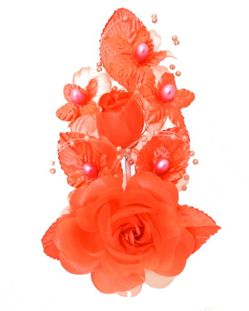 "6"" Coral Silk Corsage Flowers with Pearl Spray - Pack of 12"