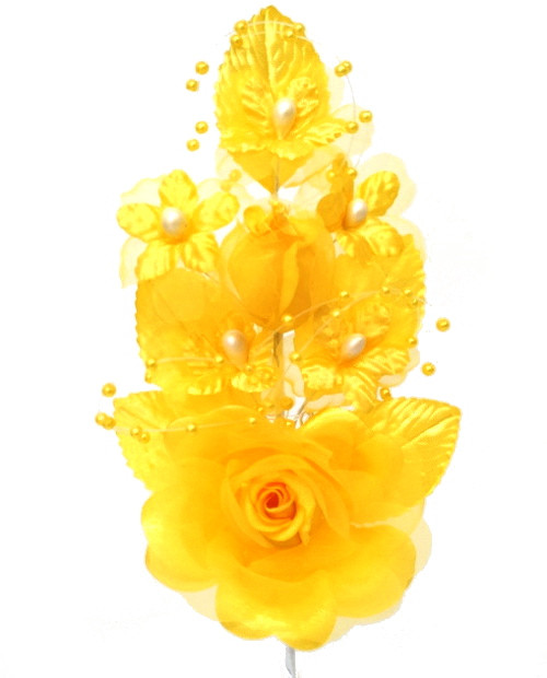 """6"""" Gold Yellow Silk Corsage Flowers with Pearl Spray - Pack of 12"""