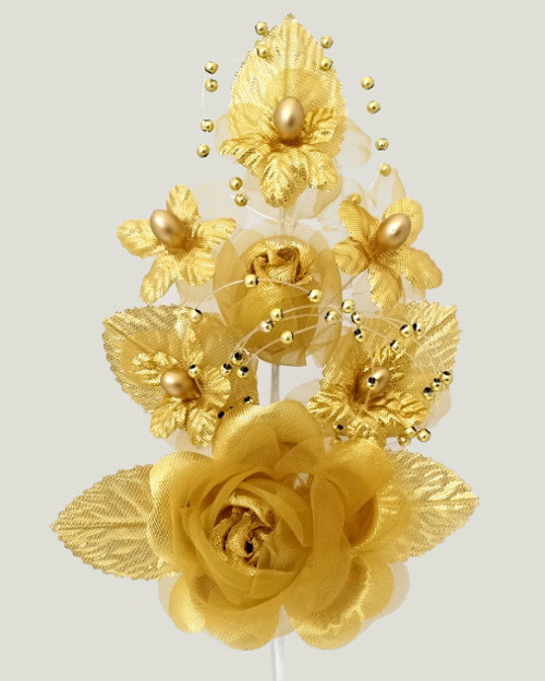 "6"" Gold Silk Corsage Flowers with Pearl Spray - Pack of 12"