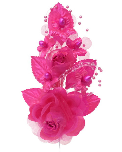 "6"" Fuchsia Silk Corsage Flowers with Pearl Spray - Pack of 12"