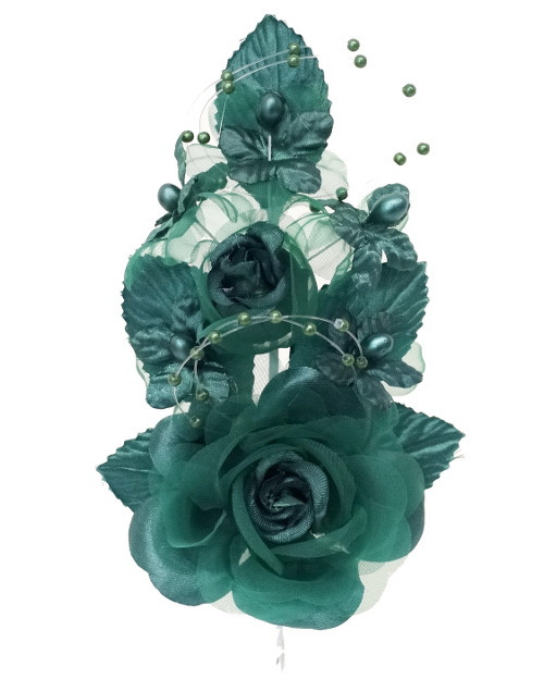"6"" Hunter Green Silk Corsage Flowers with Pearl Spray - Pack of 12"