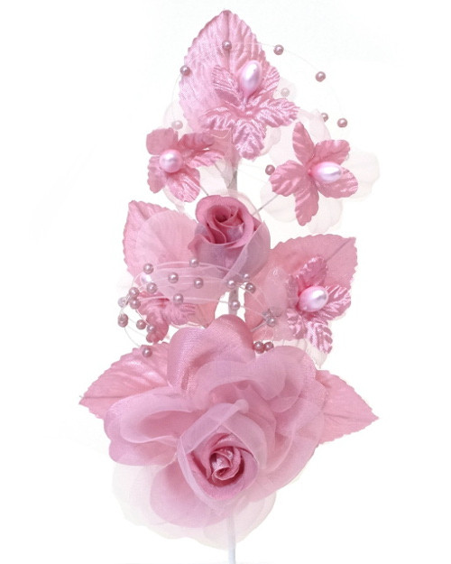 "6"" Mauve Silk Corsage Flowers with Pearl Spray - Pack of 12"