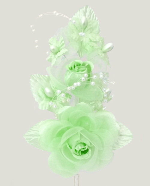 "6"" Mint Green Silk Corsage Flowers with Pearl Spray - Pack of 12"