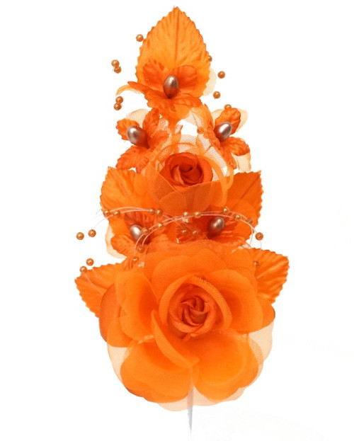 "6"" Orange Silk Corsage Flowers with Pearl Spray - Pack of 12"