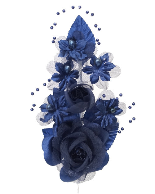 "6"" Navy Blue Silk Corsage Flowers with Pearl Spray - Pack of 12"