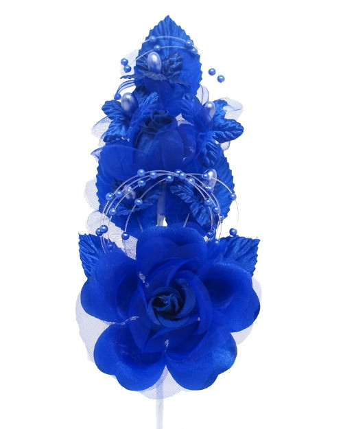 "6"" Royal Blue Silk Corsage Flowers with Pearl Spray - Pack of 12"