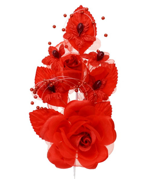 "6"" Red Silk Corsage Flowers with Pearl Spray - Pack of 12"