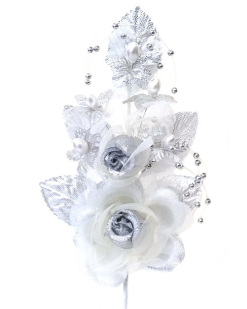 """6"""" Silver Silk Corsage Flowers with Pearl Spray - Pack of 12"""